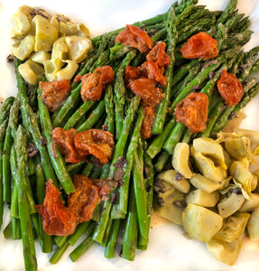 Chilled asparagus and fresh artichoke hearts with oven roasted tomato and black olive vinaigrette (GF, Vegan)
