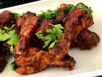 Roasted chicken drumsticks with homemade molasses barbeque sauce
