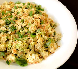 Coconut curry chicken salad with toasted almonds, golden raisins, Napa cabbage and fresh mint (GF) *