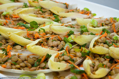 Spears of endive with a salad of lentils, sundried tomatoes, carrots, scallions and lemon with a cashew chermoula aioli (GF, Vegan)