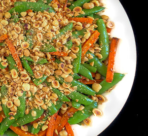 Roasted carrots with sugar snap peas, toasted hazelnuts and garlic (GF, Vegan)