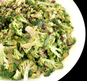 Shaved broccoli slaw with red onion, sunflower seeds and buttermilk dressing (GF)
