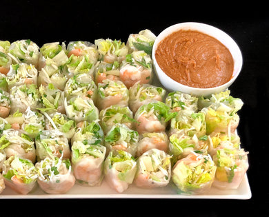 Traditional Vietnamese summer rolls with shrimp, bean sprouts, rice noodles and fresh mint with a peanut dipping sauce (GF)