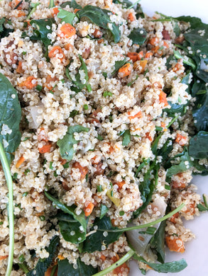 Quinoa salad with baby kale, leeks, carrots, toasted almonds, corriander, fresh herbs and lime (GF, Vegan) *