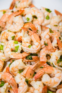 Chilled shrimp marinated with garlic, lemon, fresh mint and extra-virgin olive oil