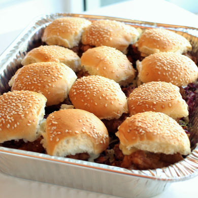 Fried Chicken Sliders  with poppyseed cole slaw and lemon thyme aioli *