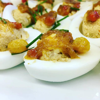 Curried deviled eggs with mango chutney