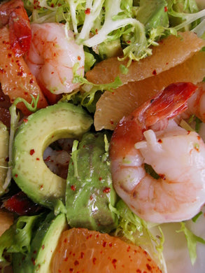 Salad of poached shrimp, fennel, grapefruit, avocado and frisée in a Maisonette sauce