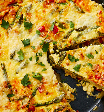Frittata with asparagus, sundried tomato, Yukon Gold potatoes, brie and chives (GF) *