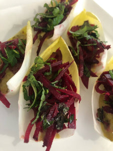 Spears of endive with pistachio butter and a beet salad with garlic, raisins and red wine vinegar  (GF, Vegan)