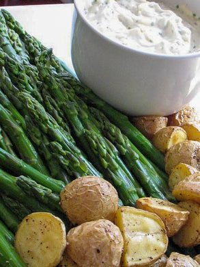 Chilled asparagus and purple and red bliss potatoes with a truffled parmesan garlic black pepper aioli (GF) *