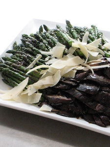 Grilled asparagus and Portobello mushrooms with a balsamic vinaigrette and shaved Parmigiano Reggiano (GF)