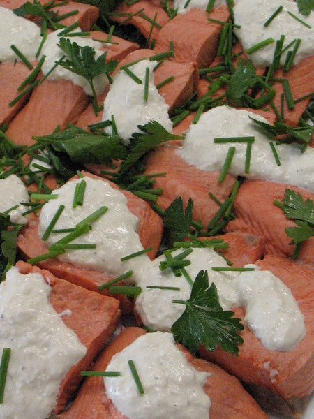 Poached salmon with horseradish sherry wine cream