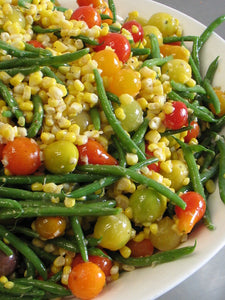 Salad of fresh corn, haricot verts and tiny tomatoes in a red wine shallot vinaigrette