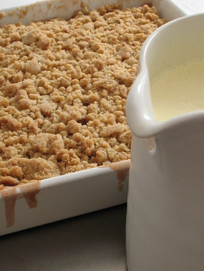 Granny Smith apple crisp with crème anglaise
