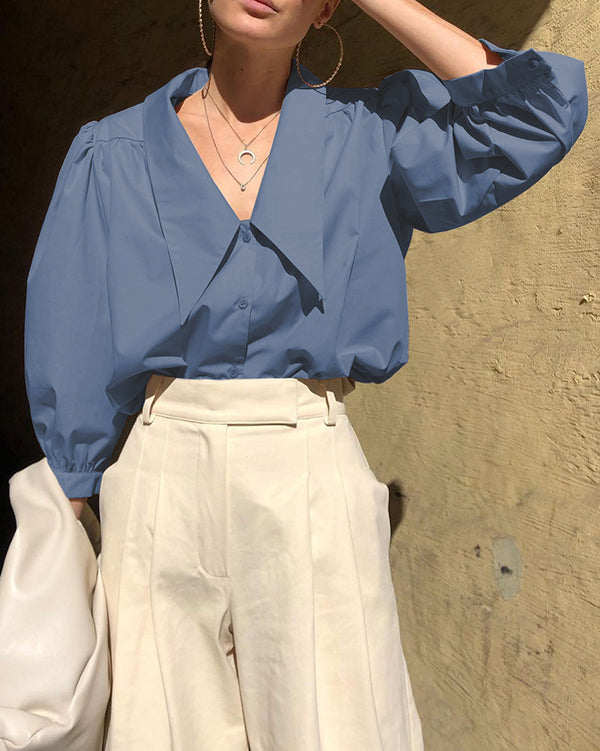 Inga Blouse in Blue by Closed Caption Collection 01
