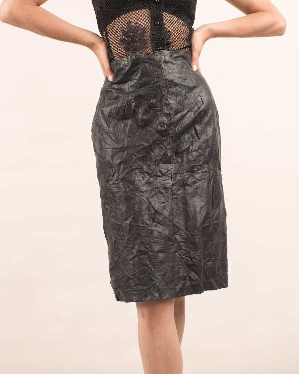 Black Leather Skirt By Closed Caption