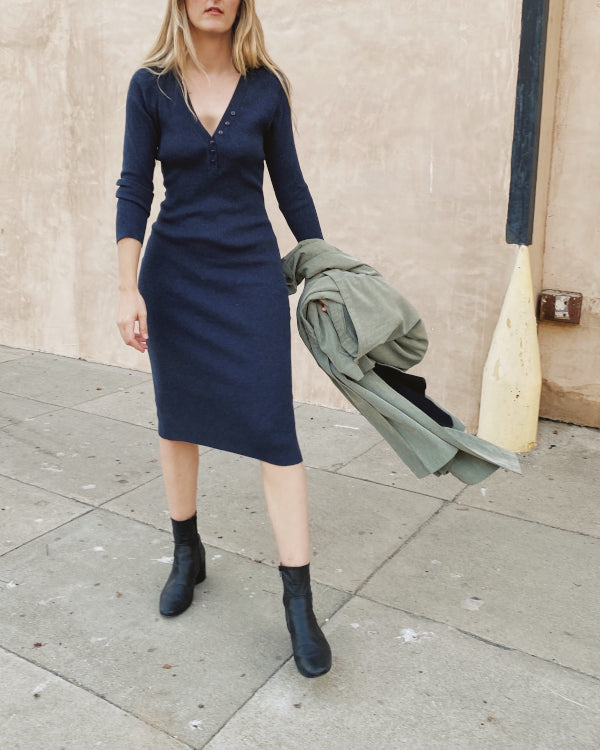 Blue Knit Dress By Closed Caption