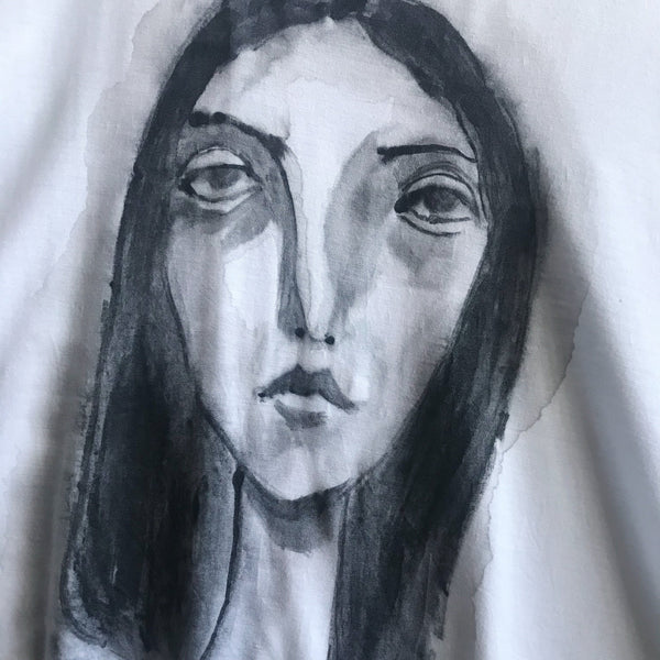 Hand Painted Female Portrait on White Knit Shirt / S/M