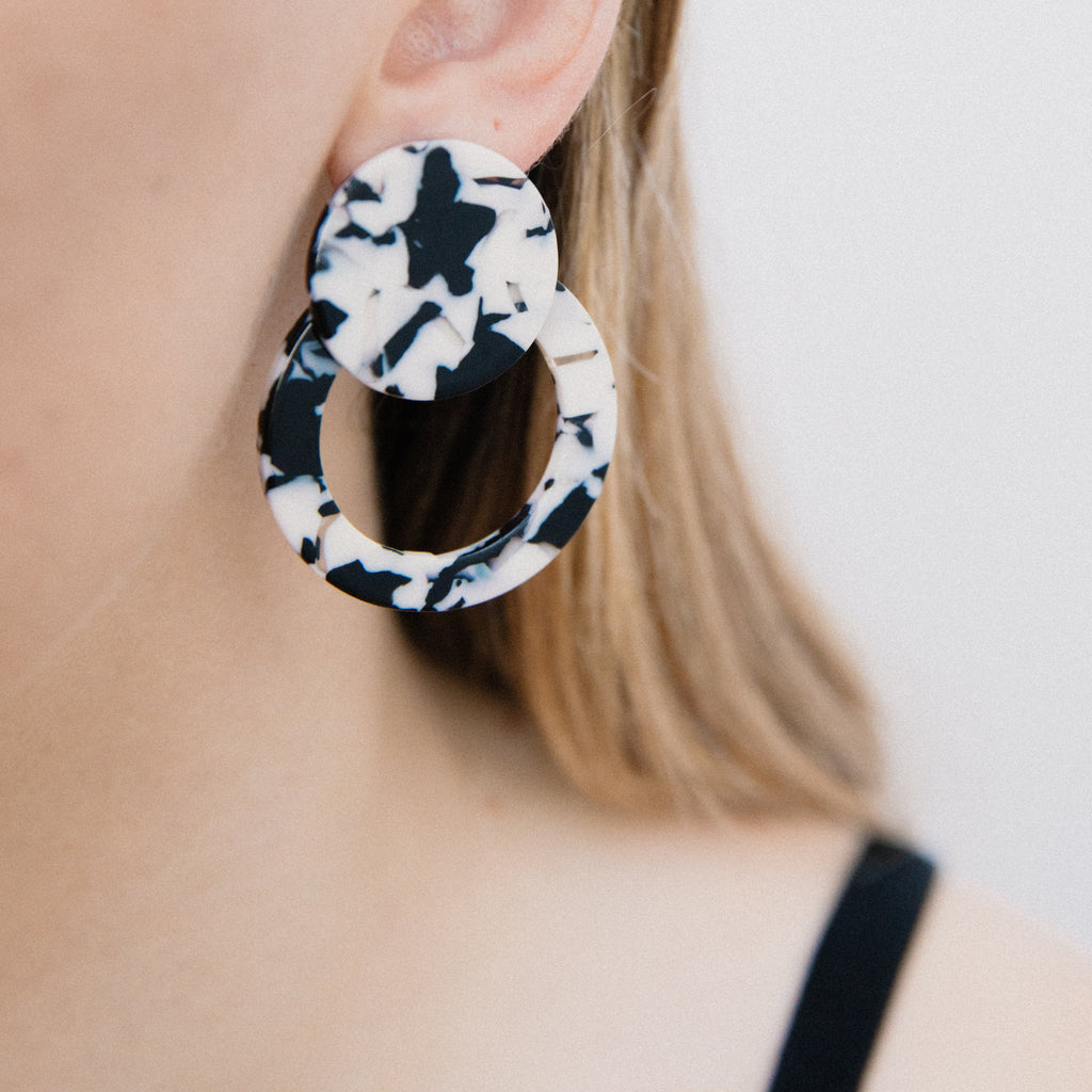 Black + White Tortoise Double Circle Earrings - Closed Caption | Shop Vintage. Always Sustainable. Never Wasteful.