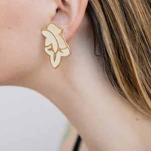 Vintage Gold + Creme Abstract Floral Earrings - Closed Caption