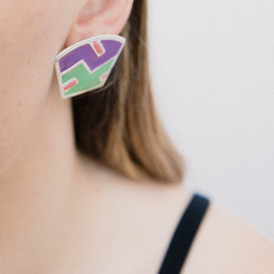 Vintage Abstract Art Silver Purple Green + Pink Earrings - Closed Caption