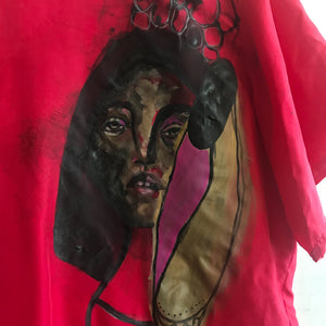 Hand Painted Female Portrait on Red Silk Blouse / S - Closed Caption