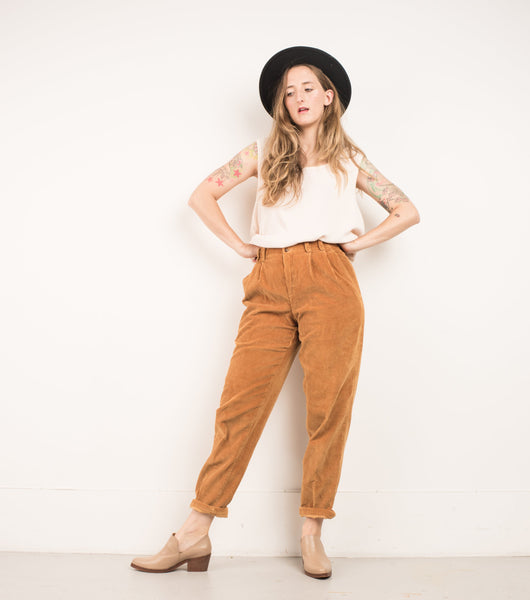 3df2e4ea2 ... Vintage Butterscotch Corduroy High Rise Tapered Trousers   S M ...