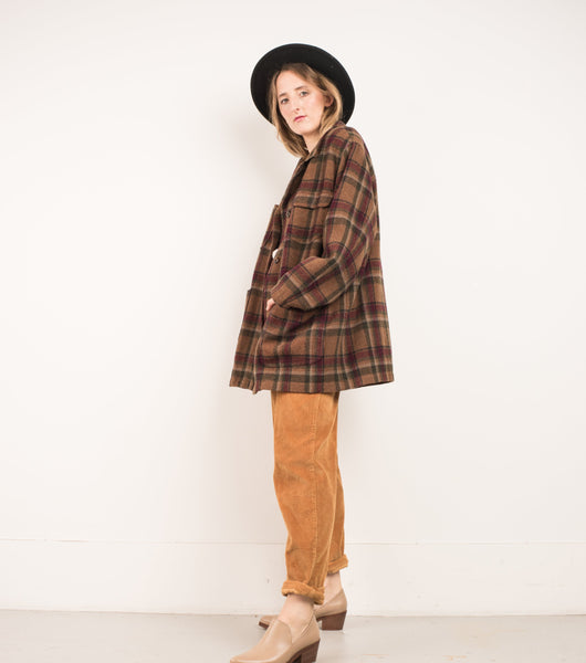 Vintage Earth Tones Wool Flannel Jacket / S