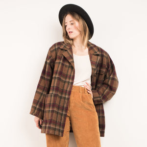 Vintage Earth Tones Wool Flannel Jacket / S - Closed Caption