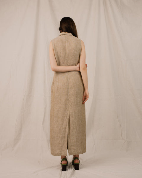 Vintage Beige Linen Sleeveless Shirt Dress / S