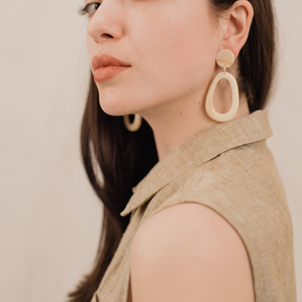 Vanilla Caramel Geometric Resin Statement Earrings