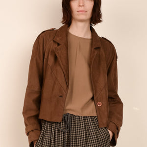 Vintage Coffee Oversized Cropped Geometric Leather Jacket / S