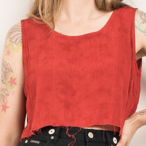 Vintage Rust Sleeveless Flowy Crinkle Top / S - Closed Caption