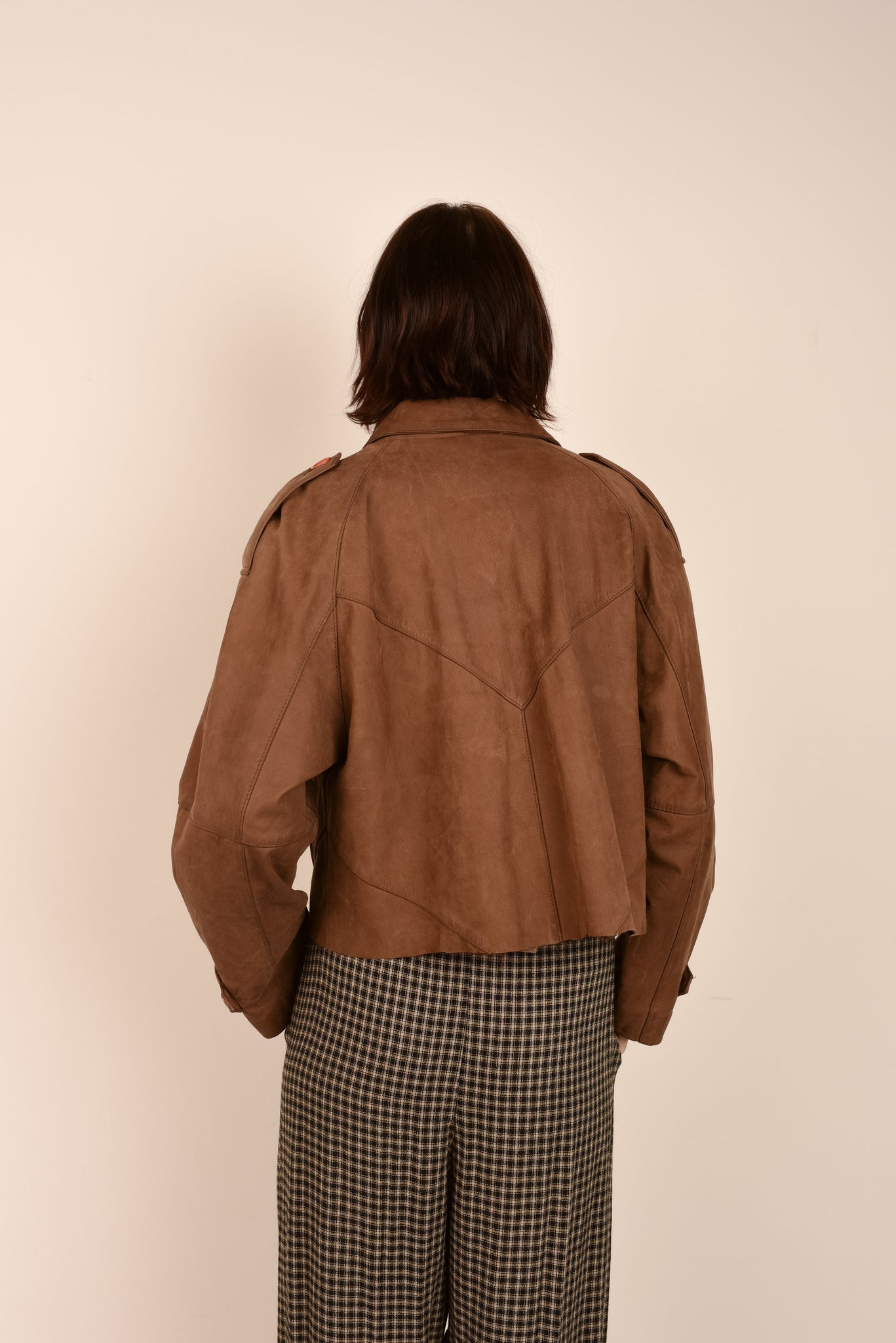 Vintage Coffee Oversized Cropped Geometric Leather Jacket / S - Closed Caption