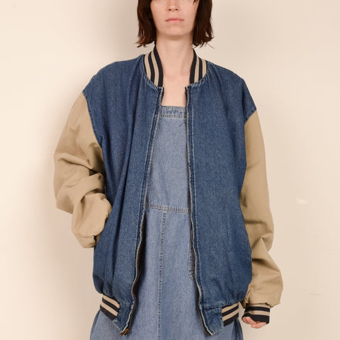 Vintage Denim Oversized Two Toned Utilitarian Bomber Jacket / S