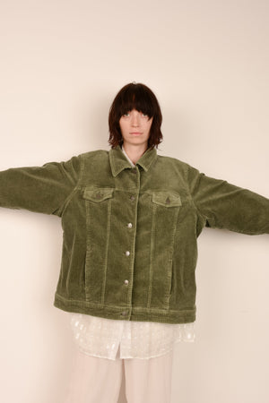 Vintage Oversized Corduroy Sage Utilitarian Jacket / S - Closed Caption