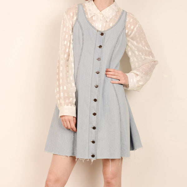 Vintage Light Wash Raw Hem Denim Dress / S/M