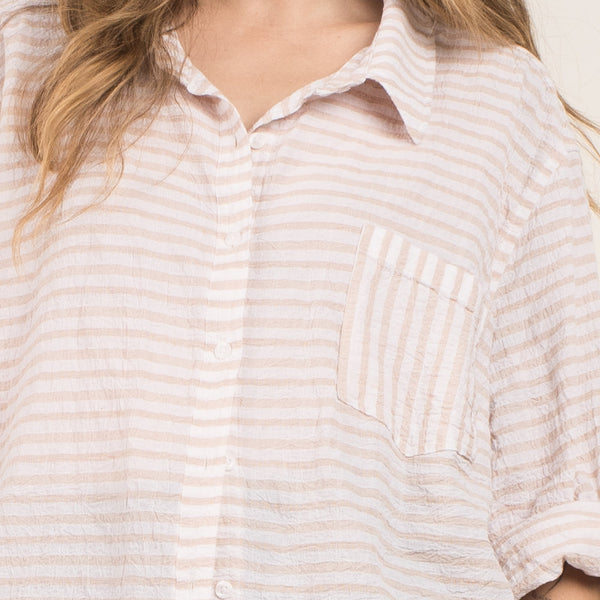 Vintage White + Almond Striped Oversized Crinkle Blouse / S/M