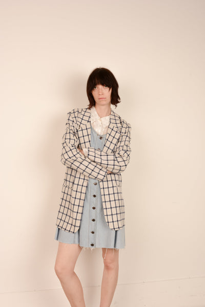 Vintage Oatmeal + Navy Plaid Oversized Blazer / S