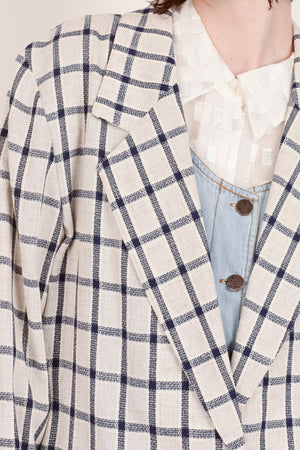 Vintage Oatmeal + Navy Plaid Oversized Blazer / S - Closed Caption