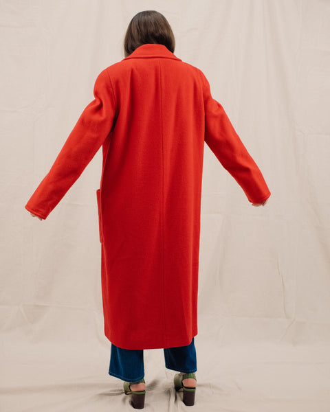Vintage Oversized Cherry Red Wool Coat / S/M