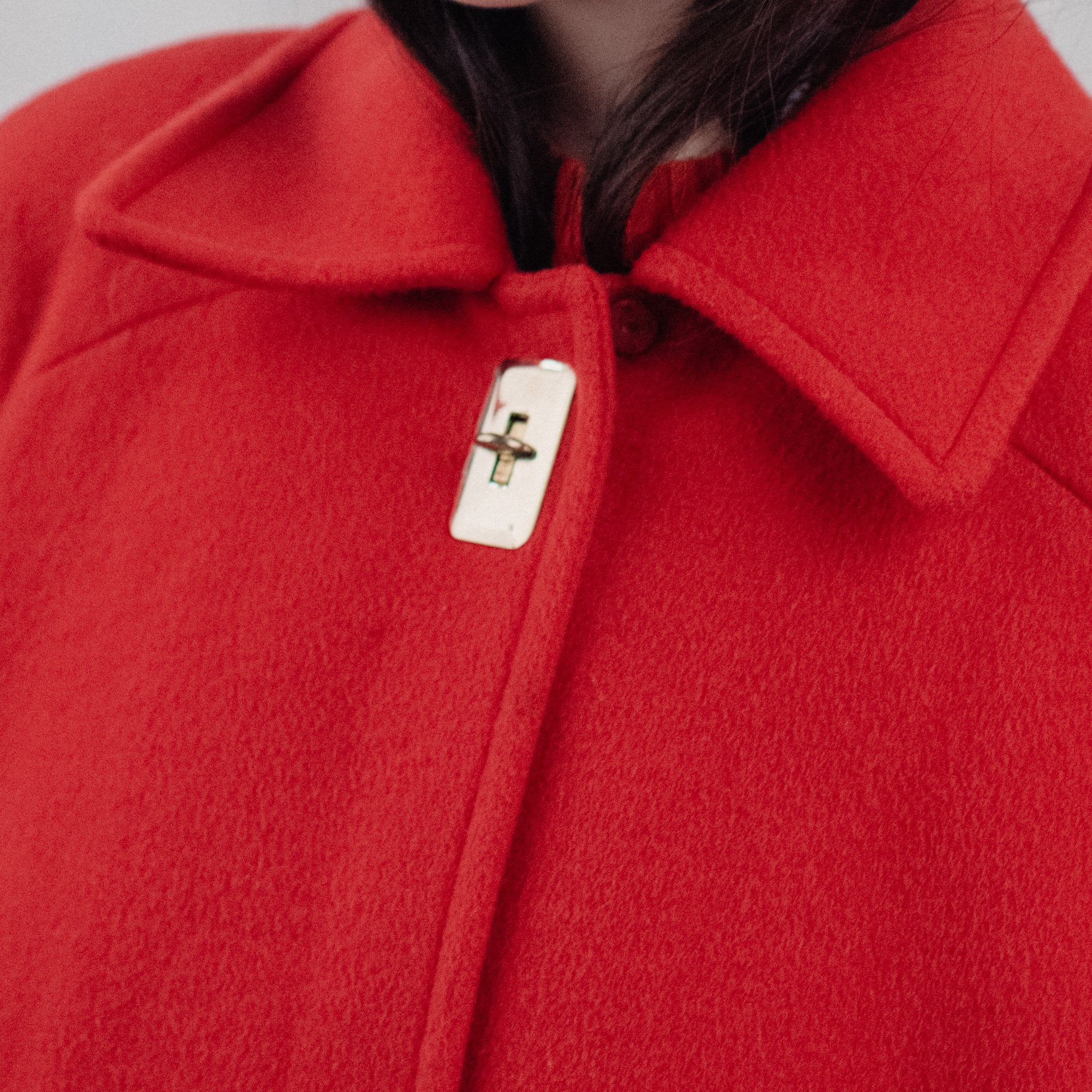 Vintage Oversized Cherry Red Wool Coat / S/M - Closed Caption