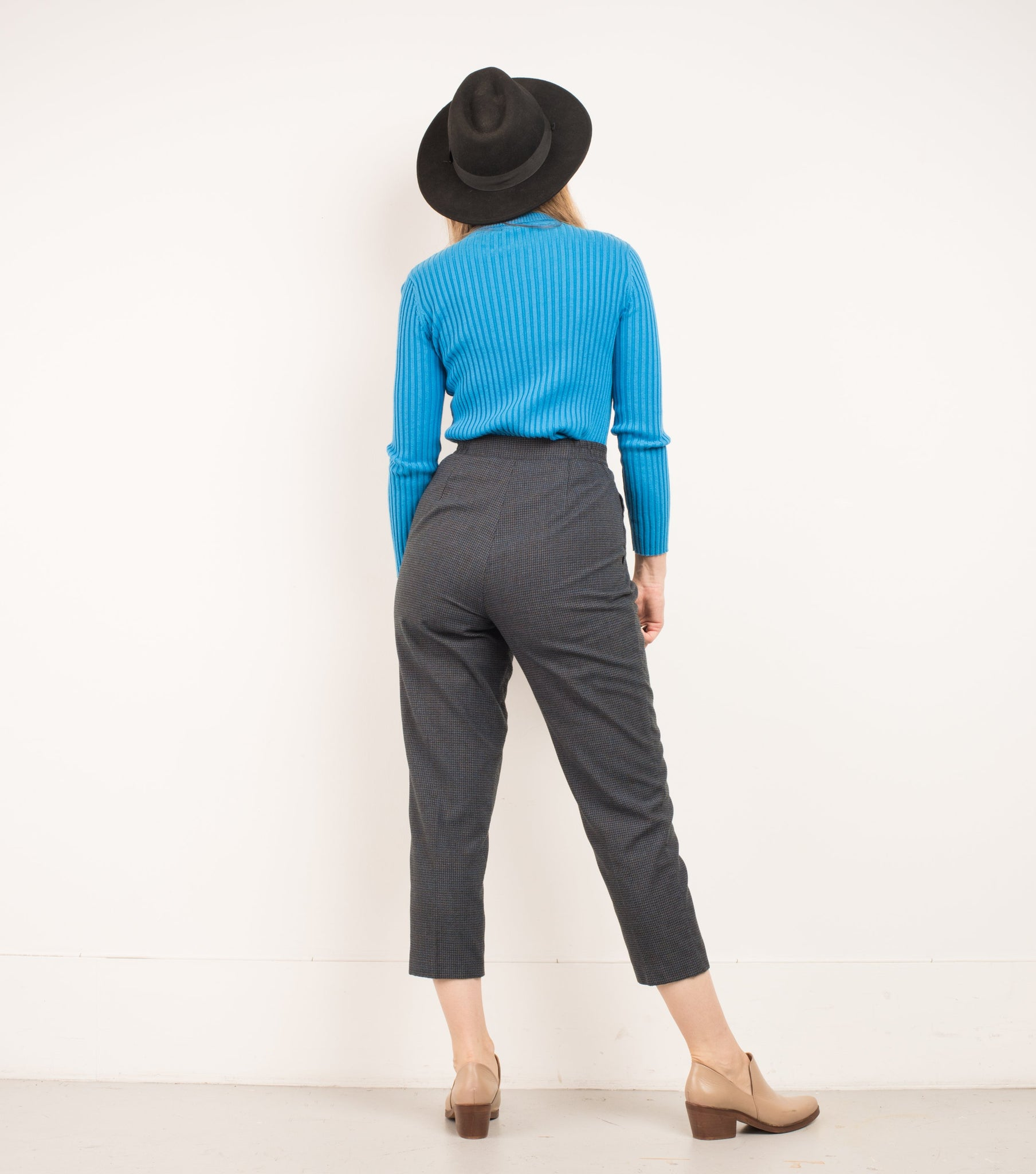 Vintage Grey + Blue Tweed Tapered Trousers / S/M - Closed Caption