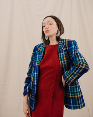 Vintage Blue Plaid Blazer / S/M - Closed Caption