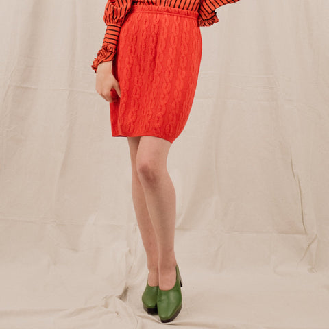 Vintage Cherry Red Braided Knit Skirt / S