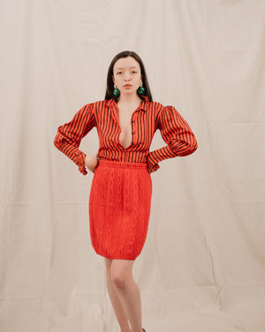 Vintage Cherry Red Cable Knit Skirt / S - Closed Caption