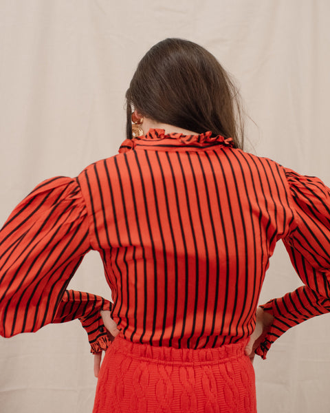 Vintage Red + Black Striped Bishop Blouse / XS