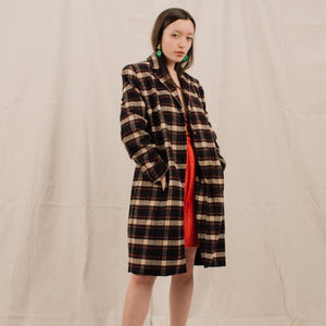 Vintage Plaid Wool Coat / S/M