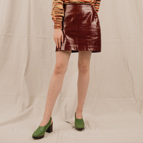 Vintage Burgundy Patent Leather Mini Skirt / S/M